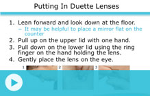 putting in duette lenses video
